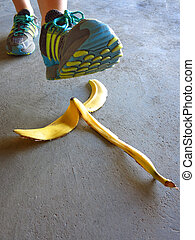 Foot Stepping on Banana Peel Slipping Accident - Foot...