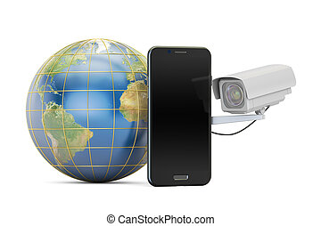 Security camera with globe Earth and phone, 3D rendering