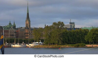Embankment and pier in the center of Stockholm. Sweden. -...
