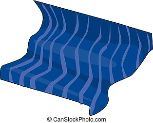 blanket - The blue striped blanket on a white background.