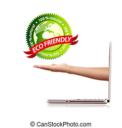 Hand holding ecofriendly sign; isolated on white background