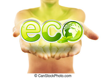 Hands holding eco sign with green leafs
