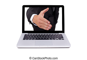 Hand coming out from the screen of the laptop, isolated