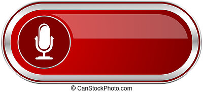 Microphone red long glossy silver metallic banner. Modern...