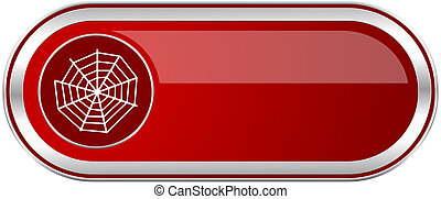 Spider web red long glossy silver metallic banner. Modern design web button for smartphone applications