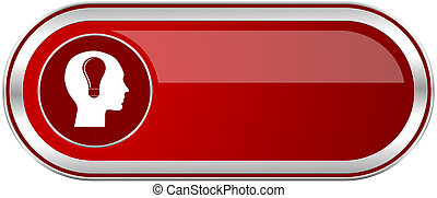 Head red long glossy silver metallic banner. Modern design web button for smartphone applications