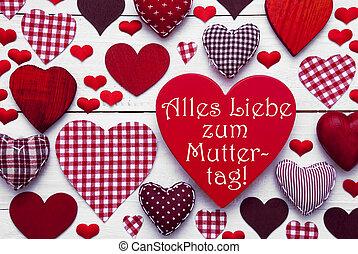 corazón, madres, medios, textura, muttertag, día, rojo,...