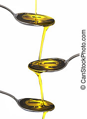 Olive oil 51 - Olive oil dripping on three spoons