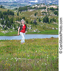 Byway Exploring - Woman walks back from exploring Little...