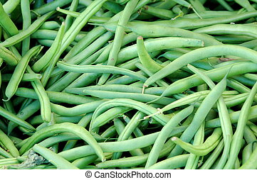 String beans. - String beans displayed at a produce stand...