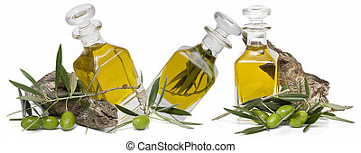 Olive oil 43 - Olive oil bottles and olives isolated on a...