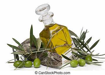 Olive oil 42 - Olive oil bottle and olives isolated on a...