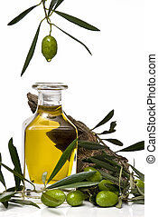 Olive oil 37 - Olive oil bottle and olives isolated on a...