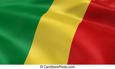 Congolese flag in the wind. Part of a series.