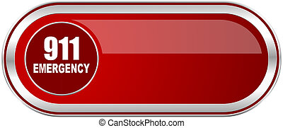 Number emergency 911 red long glossy silver metallic banner....