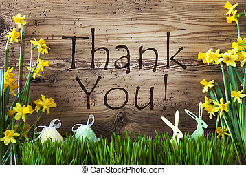Easter Decoration, Gras, Text Thank You - Wooden Background...