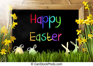 Sunny Narcissus, Egg, Bunny, Colorful Text Happy Easter -...