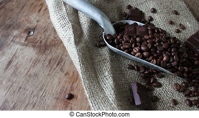 shovel for of coffee and dark chocolate - shovel for of...