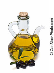 Olive oil 18 - Olive oil bottle and olives isolated on a...