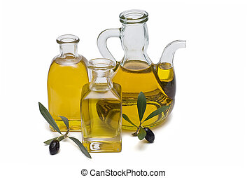 Olive oil 12 - Olive oil bottles and olives isolated on a...