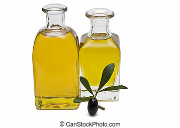 Olive oil 11. - Olive oil bottles and olives isolated on a...
