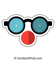 cartoon clown glasses and red nose vector illustration eps...