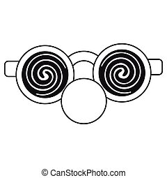 clown glasses and red nose thin line vector illustration eps...