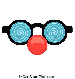 april fool clown glasses and red nose vector illustration...
