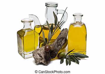 Olive oil 9 - Olive oil bottles and olives isolated on a...