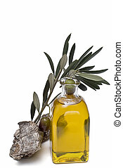 Olive oil 8 - Olive oil bottle and olives isolated on a...