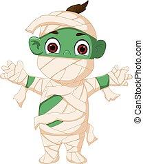 Cartoon mummy standing - vector illustration of Cartoon...
