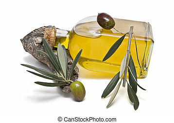 Olive oil 6 - Olive oil bottle and olives isolated on a...