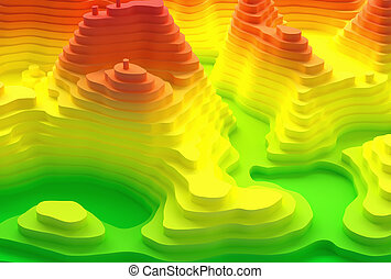 Island Topographic Map - 3D illustration. Topographical map...