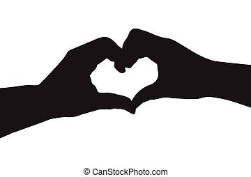 Silhouette hand in heart shape
