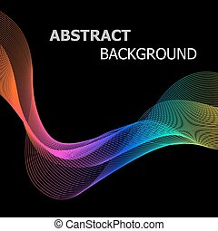 Abstract background with colorful line wave on black