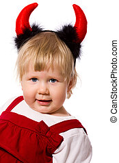 Little devil - Portrait of little girl wearing devils horns...