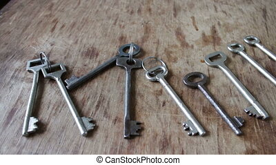 many vintage keys from the door - many different metal...