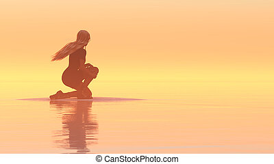 woman relaxing - 3d illustration of woman relaxing