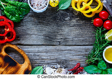Healthy cooking concept - Top view of food frame background...