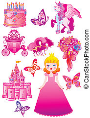 Princess collection. - Fairy-tale. Vector art-illustration...