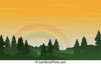 Landscape of hill with rainbow silhouettes