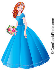 Princess - Beautiful princess Vector art-illustration on a...