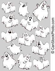 Ghosts Halloween night Vector art-illustration on a grey...