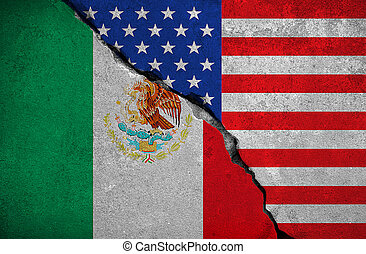 mexico flag on broken brick wall and half usa united states...