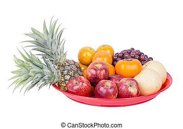 fruit on tray isolated on white background