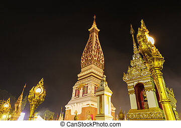 Wat Phra That Panom temple at night, Nakhon Phanom,...