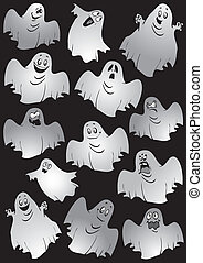 Ghosts Halloween night Vector art-illustration on a black...