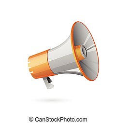 Illustration of megaphone on white background