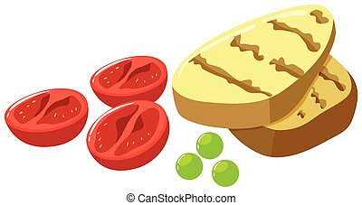 Grilled tomatoes and potatoes illustration
