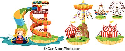 Different rides in theme park illustration